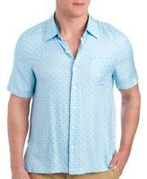 Nat Nast Luxury Originals Men's Short Sleeve Kaleidoscope Silk Shirt White Blue