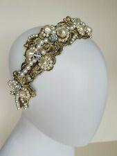 Vintage Antique Gold embroidered Tiara Headband,Bridal Hair Flowers,ONE ONLY