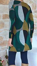 Vestito donna maglia lunga verde multicolor sintetico taglia L