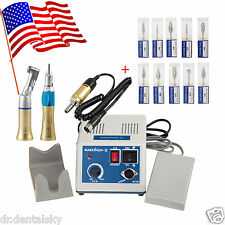 US! Dental Lab MARATHON 35K RPM Handpiece Electric Micromotor 10 Drills Gold Kit