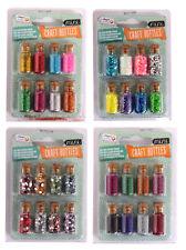 8 Mini Craft Bottles Assorted Colours Gemstones Glitter Or Beads Fairy Jars 0338