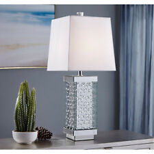 TABLE LAMP WHITE SHADE CRYSTALS MIRRORED MODERN LIVING ROOM BEDROOM 1 LIGHT 29""