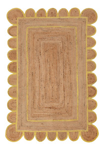 Scalloped Rug 100% Natural Jute Braided Style Carpet Rustic Look Area Rugs