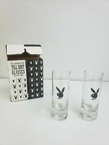 Playboy Tall Shot Glasses Set Of 2 Item #5311-2 Rabbit Head Design 2000
