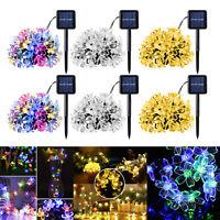 8 Modes 20/50LED Solar Power Cherry Blossom String Light Yard Fairy Decor Lamp
