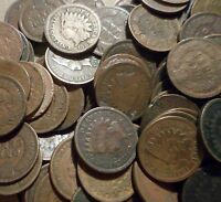 UNSEARCHED mixed lot of Fifty (50) Indian Head Cents from estate antique rare