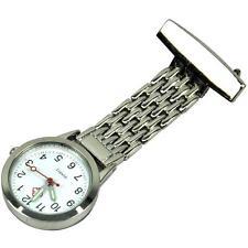 Reloj De Bolsillo alta Calidad Reloj Fob Enfermeras De Acero Inoxidable De Plata clip en camisa