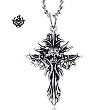 Silver pendant vintage style stainless steel cross skull cz ball chain necklace