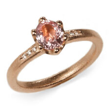 DIANA PORTER SECONDS 18ct rose gold oval pink sapphire diamond ring J 50% off