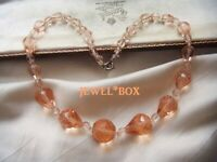 Adorable ART DECO Champagne Pink Crystal Pear Drop Beads VINTAGE NECKLACE