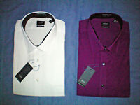 NWT NEW mens size XXL 2XL 18 18.5 white purple ARROW pin cord dress shirt $40