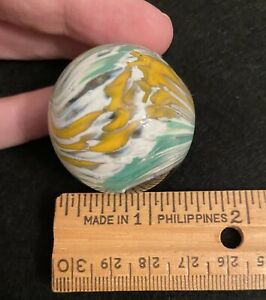 """Large Antique German Yellow Green Glass Shooter Marble Onion Skin? Nearly 1.5"""""""
