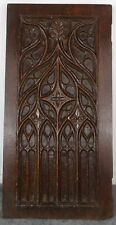 Antique French Gothic Revival Panel Carved Oak Wood Salvage Fleur de Lys