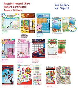 Re-usable Behaviour Reward Chart Preschool Nursery Star Stickers Pen reusable