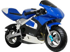 MotoTec Gas Pocket Bike Mini Air Cooled Motorcycle Ages 13+ Blue