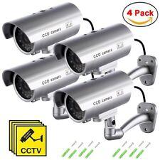 4 Cámaras de Seguridad Vigilancia Falsas Inalámbrico Impermeable LED Parpadeante