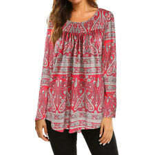 Women Long Sleeve Floral Tops Ladies Casual Loose Tunic T Shirt Blouse L bc