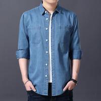 Men Denim Shirt Cotton Long Sleeve Collared Top Pocket Classic Casual Retro Blue