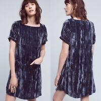 Anthropologie Floreat Navy Blue Crinkled Velvet Velour Tunic Dress