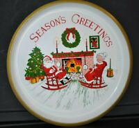 "VINTAGE 13"" Large CHRISTMAS COOKIE TRAY Plastic MR & MRS SANTA CLAUS Platter"
