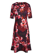 Joanna Hope Scuba Print Dress UK 14 Red Mix Floral Any Occasion EU 43 New