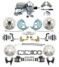 """1964-1972 Chevelle 9"""" Chrome Flat Top Front Rear Disc Brake Kit Drilled Slotted"""