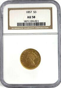 1857 US Mint $3 Dollar Liberty Head Gold Coin NGC Au58