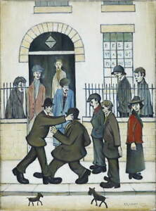 L.S. Lowry A Fight Poster Reproduction Paintings Giclee Canvas Print