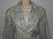 Blouse Charter Club 18W Womens 2X Shirt Plus Floral Yellow White Blue Top 6s77
