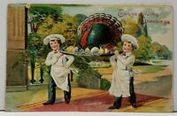 Thanksgiving Greeting Boys Delivering the Turkey Embossed 1908 Postcard F16
