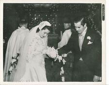 TYRONE POWER LINDA CHRISTIAN Original CANDID Wedding Mass Vintage 1949 Fox Photo