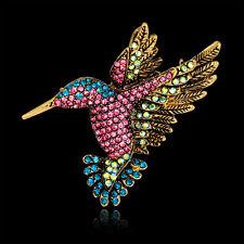 Women Vintage Rhinestone MultiColor Hummingbirds Bouquet Jewelry Brooch Pin Hot