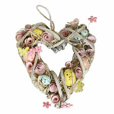 Easter Art Deco Decorations, Room Ornament - Heart Wreath with Eggs