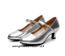 New Womens Kitten Heels Pumps Latin Dancing Shoes Ankle Strap Ballroom Salsa UK8