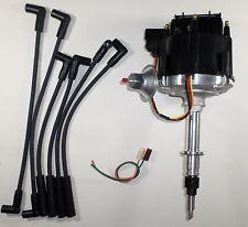 AMC/JEEP INLINE 6 232-258 6 CYLINDER HEI DISTRIBUTOR & BLACK Spark Plug Wires