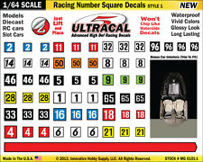 1/64 High Def Ultra-Cal Racing Number Square Decals Fits Aurora, Lifelike