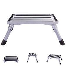 Folding Aluminum Platform Step Stool RV Trailer Camper Working Ladder Portable