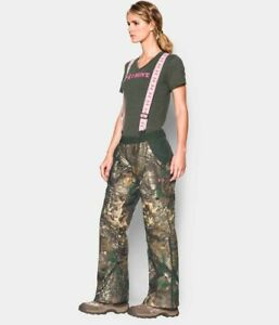 Under Armour Womens UA Gunpowder Real Tree Hunting Bib Pants Overalls L