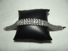 Bracelet Semi-rigide Métal Argenté & Strass (20cm)