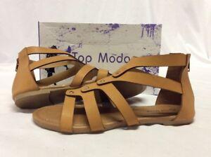 Top Moda HL50 Women's Gladiator Sandals, Camel Flat Size 7 M