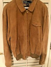 POLO RALPH LAUREN Camel Suede Leather Lined Jacket  L