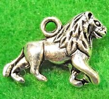 10Pcs. Tibetan Silver 3D LION Charms Pendants Earring Drops Findings AN013