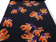 Stoff 100% Viskose Blusenstoff Blumen schwarz orange gelb lila pink Kleiderstoff