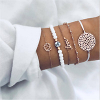 5pcs Women Jewelry Set Rope Natural Stone Crystal Chain Alloy Bracelets Gift HOT