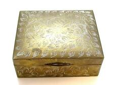 Vintage Beautiful White Floral Etched Brass Trinket Jewelry Box*Wood Lined*E253