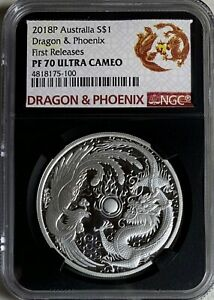 2018 Australia $1 1oz  Dragon & Phoenix NGC PF70UC First Releases Black Core