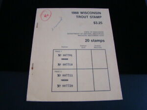 Wisconsin 1988 Trout Stamps Unused Booklet Of 20 MNH 2 Panes Of 10 Nice!!