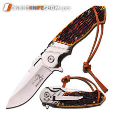 ELK RIDGE SIMULATED BONE TACTICAL Spring Assisted Knife Pocket Blade LEATHER NEW