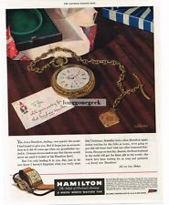 1944 Hamilton Pocket Watch Christmas Letter From Wife Vtg Print Ad