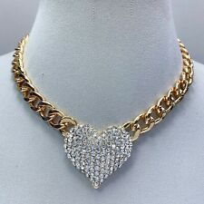 Gold Tone Cuban Link Chain Clear Rhinestones Heart Love Shape Pendant Necklace
